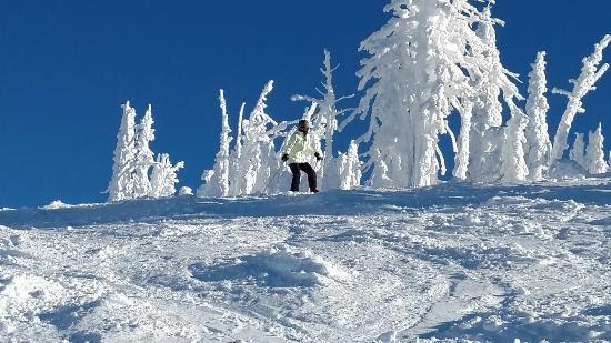 Snowboarding on Brundage Mountain