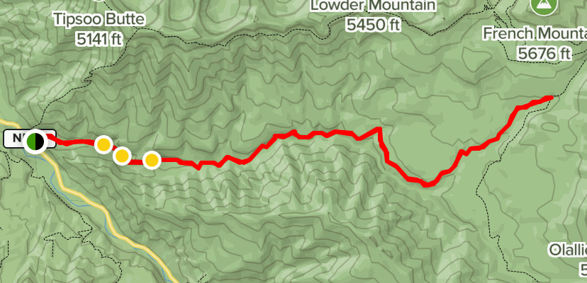 A map showing location of French Pete Creek Hiking Trail