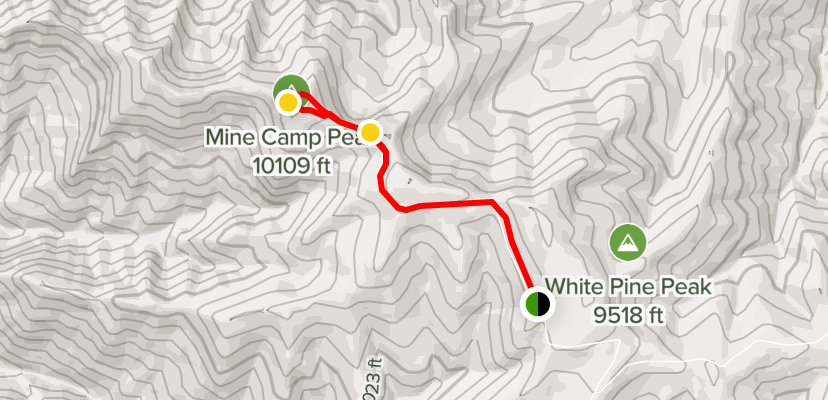 A route map for Mine Camp Peak Trail from White Pine Peak