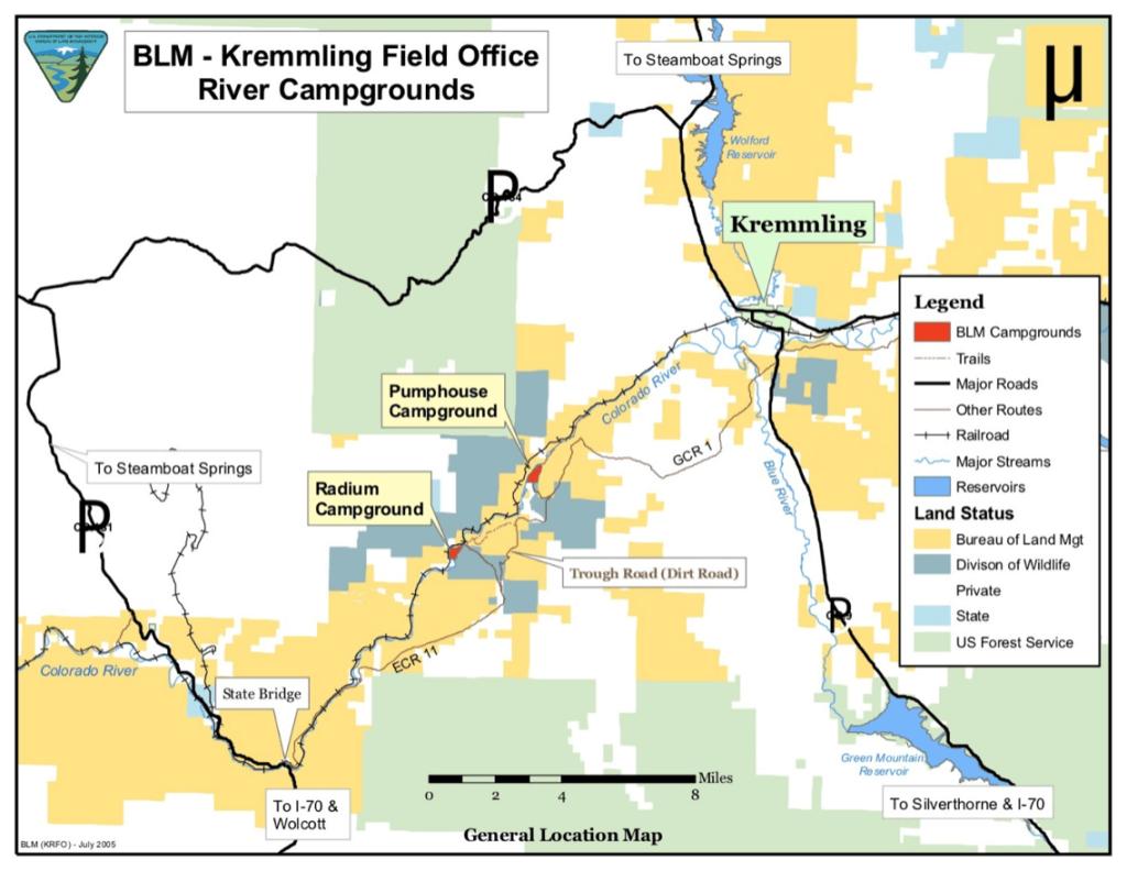 Location of Radium Hot Springs Colorado